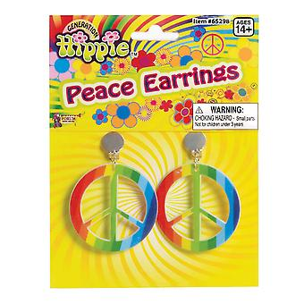 Bristol Novelty Unisex Adults Rainbow Hippy Peace Earrings