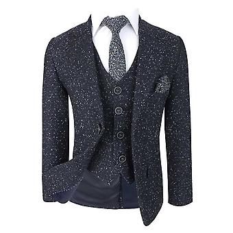 Flamingo Boys Modern fit Tweed Suit Cosmo Navy Blue