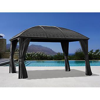 Paviljong San Jose m/gardiner og myggnetting, 3x4m, Svart