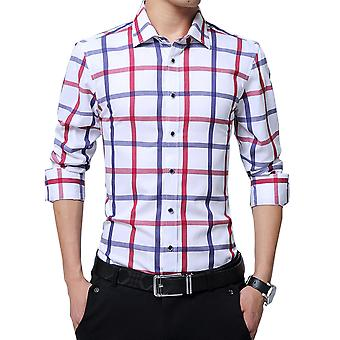 Allthemen Men's Long Sleeves Shirt Plaid Cotton Long Sleeve Shirt
