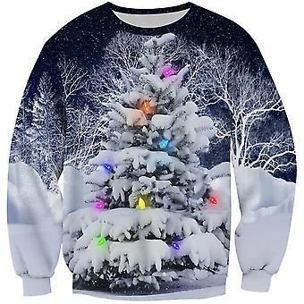 Alle Themen Herren 3D PulloverShirt bunte Schneebaum Rundhals 3D Pullover Pullover Pullover Shirt