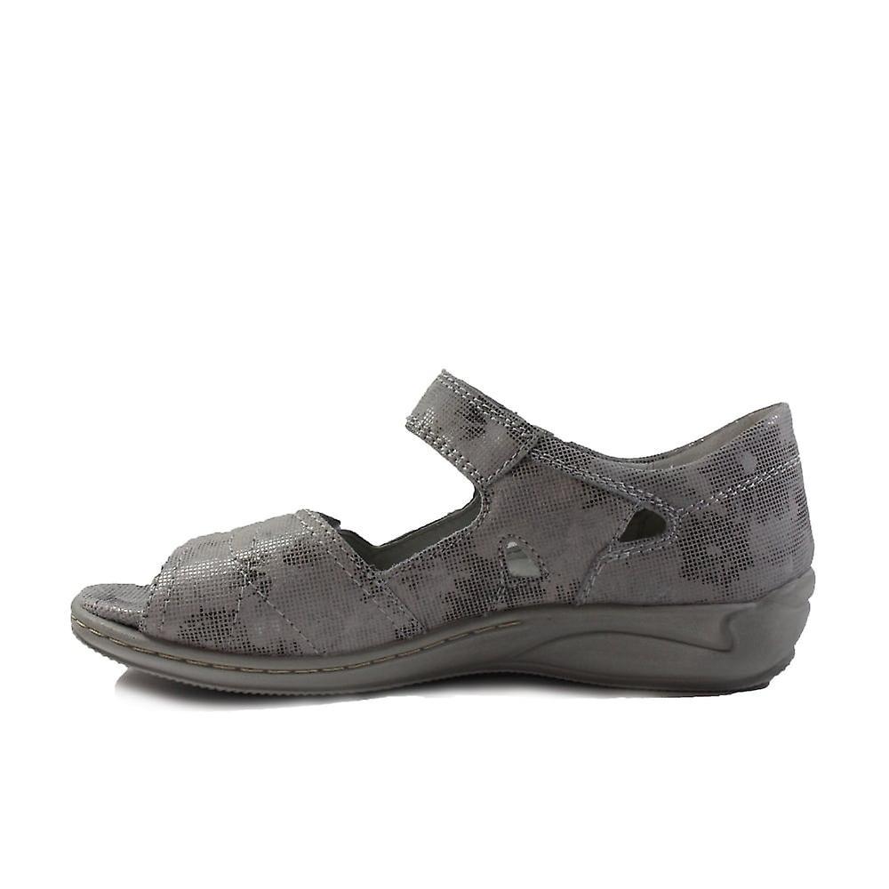 Waldlàufer Hilena 582028 168 070 Silver Leather Womens Adjustable Closed Back Sandals