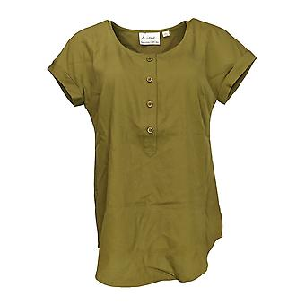 Linea by Louis Dell'Olio Women's Top Short Sleeve Scoop Neck Green A266302