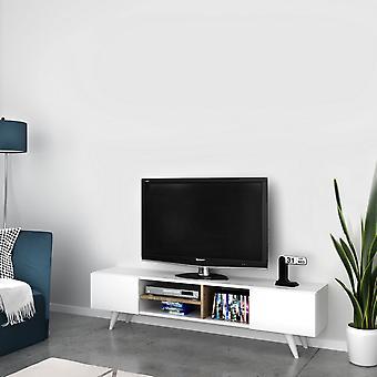 Mobile Porta TV Dore Color Bianco, Noce in Truciolare Melaminico, PVC 160x29,7x40,6 cm