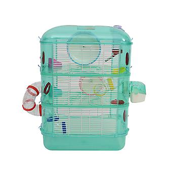 PawHut 3-Tier Small Pet Cage Multi-Activity w/ Wheel Tunnel Food Water Bowl Doors Rat Hamster Guinea Pig Animal Habitat Play Exercise Centre Green