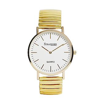 Stratford Gents Yellowgold Tone Metal Large Analogue Silvertone Dial Expander Watch
