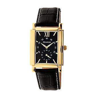 Heritor s automática Frederick-venda de cuero reloj - oro/negro