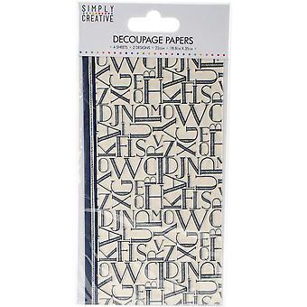 Simply Creative Decoupage Paper 18.8cmX35cm 4/Pkg-Black Letters