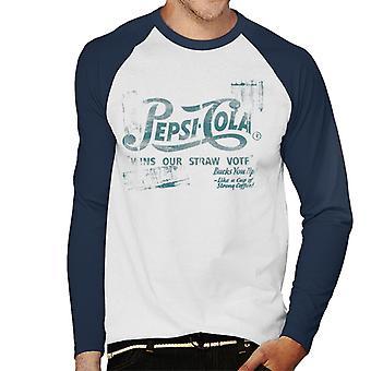 Pepsi Cola gewinnt unsere Stroh Abstimmung Männer's Baseball langärmelige T-Shirt