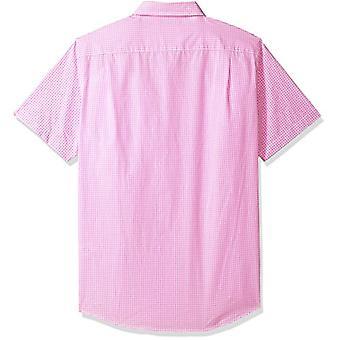 Essentials hombres's slim-fit camisa casual poplin de manga corta, Gingham rosa, XX-Large