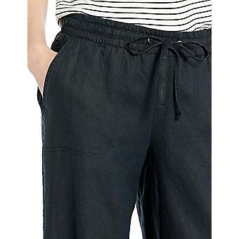 Essentials Women's Solid Drawstring Linen Pant, Black, S Regular