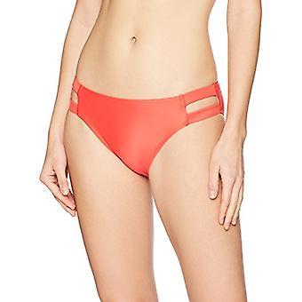 Brand - Mae Women's Swimwear Double Strap Hipster Classic Coverage Bikini Bottom,Papaya,Large