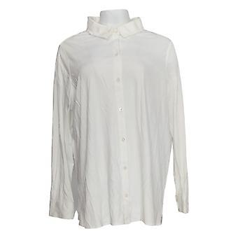 Martha Stewart Femmes's Top Plus Luxe Cotton Button Avant Blanc A351518