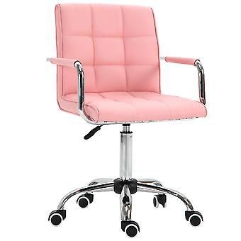 Vinsetto PU Leather Grid-Padded Office Chair Square Seat w/ Adjustable Height Fixed Armrests 5 Wheels Wide Moulded Seat Home Work Style Sophistication Pink