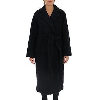 Ganni F5269099 Femmes-apos;s Manteau de laine noire