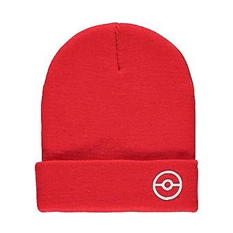 Pokemon Beanie Hat Trainer TECH Poke Ball logo new Official Red Roll Up