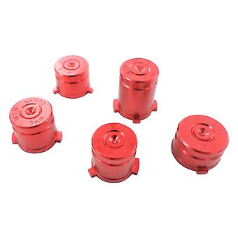 Metal button set for xbox one wireless controller aluminium alloy bullet inc a b x y & guide button - red   zedlabz