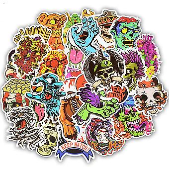 50pcs Terror Series Sticker- Graffiti Skeleton Dark Stickers For Diy Sticker On