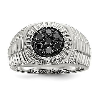 925 Sterling Silver Mens Black Diamond Polished and Satin Ring Jewelry Gifts for Men - Ring Size: 9 to 11