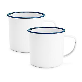 Rink Drink White Émail Espresso Coffee Mugs - 150ml - Blue Trim - Pack de 2