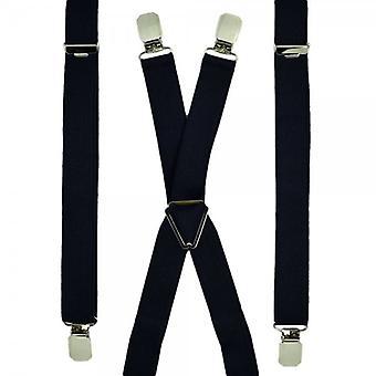 Cravatte Planet Plain Navy Blu Skinny Trouser Braces