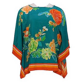 Bob Mackie Women's Top Romantic Floral Border Print Caftan Green A352512