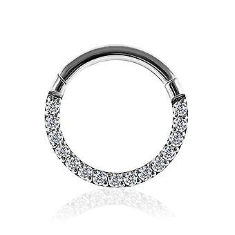 16 Gauge ( 1.2MM ) - 9MM Diameter Micro Setting Line Cz Stone 316L Surgical Steel Hinged Clicker Segment Ring Ear Septum Tragus Helix Piercing Jewellery