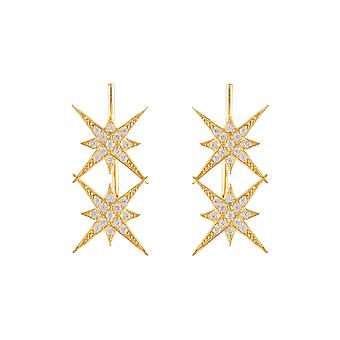 Yellow White Star Burst CZ Bridal Jewellery Gift Gold Double Ear Climber Pair