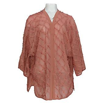 WynneLayers Women's Sweater Woven Novelty Fringe Topper Pink 682-653