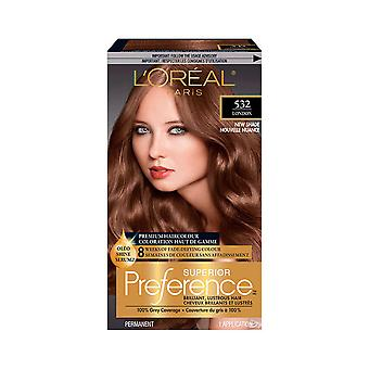 L'Oreal Paris Superior Preference Fade-Defying + Shine Permanent Hair Color, 532 Iced Golden Brown, Pack of 1, Hair Dye