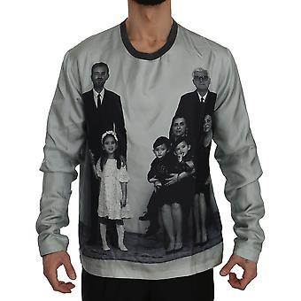 Dolce & Gabbana DG FAMILY Print Gray Silk Crewneck  Sweater