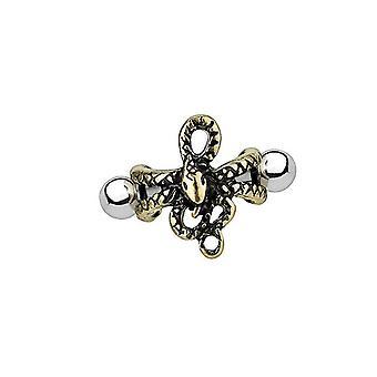 Korvarusto 16g barbell käärme suunnittelu kirurginen teräs antiikki kulta ip helix kalvosinnappi