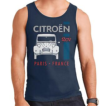 Citro?n White 2CV Paris France Single Stripe Men's Vest