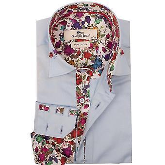 Claudio Lugli Floral Trim Collar Heren's Shirt