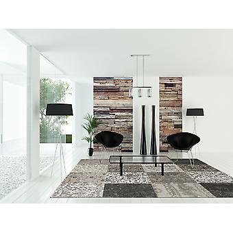 6' x 7' Black White and Grey Patchwork Design Area Rug