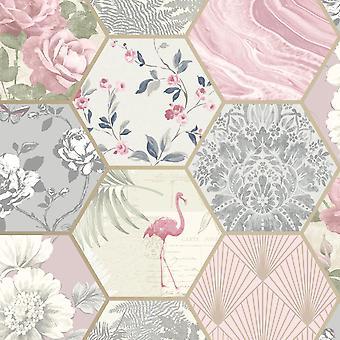 Hexagon Collage Geometric Rasch Wallpaper