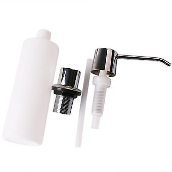 White Liquid Soap Dispenser Lotion, Pump Cover Built In Kitchen Sink,