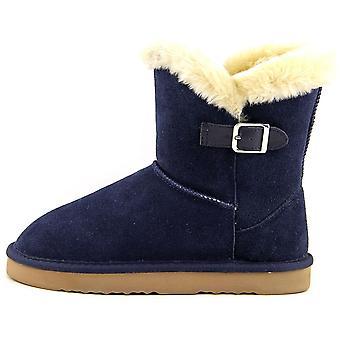 شركة & نمط المرأة الجلود 2 صغيرة مغلقة إصبع القدم أحذية الطقس البارد في منتصف العجل