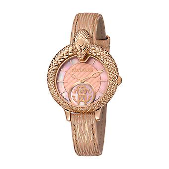 Roberto Cavalli Kvinnor' s Rose Gold Dial Kalvskinn Läder Klocka