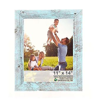 11x14 Rustic Blue Picture Frame with Plexiglass Holder