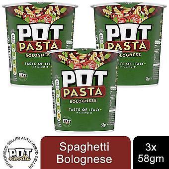 3pk Pot Pasta Bolognese Instant Hot Snack of 58g