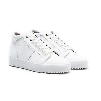 Android Homme Propulsion Mid White Mosaic Leather Trainers