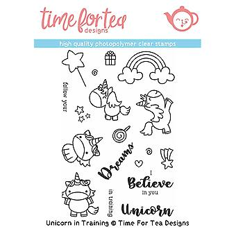 Time For Tea Unicorn In Training Clear Stamps