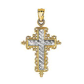 14 k 2 sävy kultaa timantti leikattu pyöreä filigraani suunnittelu rajat riipus
