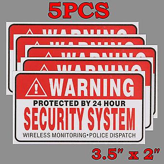 5x Protected By 24 Hour Security System Self-adhesive Stickers Safety Signs