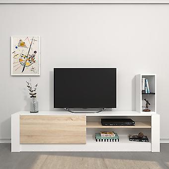 Mobiele TV Port Gomez White Color, Sonoma in Melaminico Spaanplaat, L180xP30xA43 cm