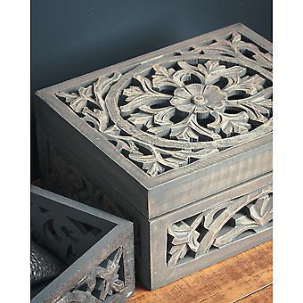 Hill Interiors Lustro madera tallada caja decorativa
