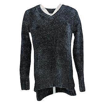Orvis Women's Sweater Marbled Long Sleeve V Neck Pullover Blue