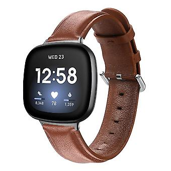 For Fitbit Versa 3 / Sense Genuine Leather Band Replacement Wristband Strap[Brown,Large]