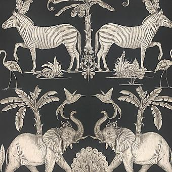 Colonial Charcoal Pale Gold Wallpaper